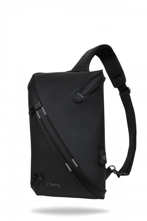 Plecak męski na jedno ramię z USB Depo Black
